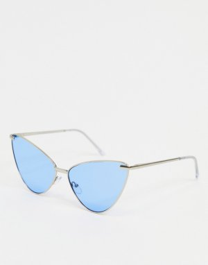 Серебристые солнцезащитные очки «кошачий глаз» с голубыми линзами -Серебристый AJ Morgan