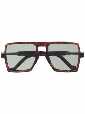 Солнцезащитные очки в массивной оправе черепаховой расцветки VAVA Eyewear. Цвет: коричневый