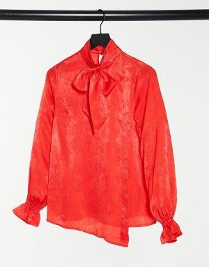 Красная атласная блузка с бантом -Красный Elvi