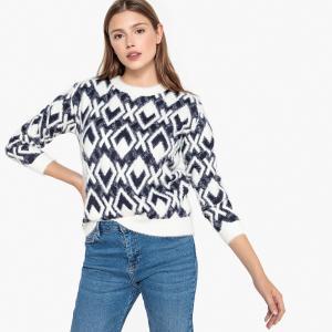 Пуловер из плотного трикотажа с жаккардовым рисунком PASCAL SUNCOO. Цвет: рисунок темно-синий/белый