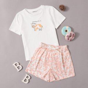 Пижама с оригинальным принтом для девочек SHEIN. Цвет: многоцветный