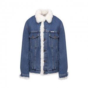 Джинсовая куртка с меховой отделкой Forte Dei Marmi Couture. Цвет: синий