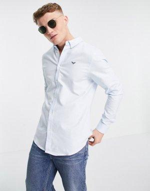 Голубая оксфордская рубашка с длинными рукавами -Голубой Threadbare