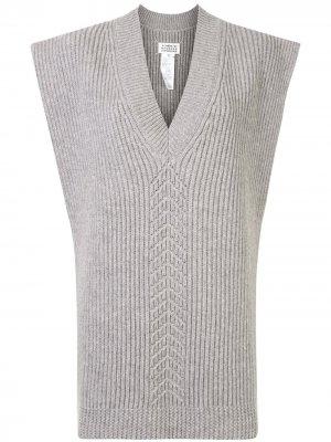 Вязаное пончо с V-образным вырезом Maison Margiela. Цвет: серый