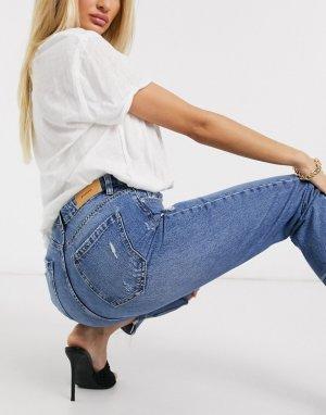 Синие джинсы в винтажном стиле со рваной отделкой -Синий Stradivarius