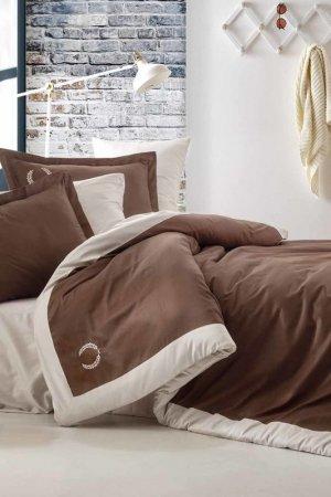 Double Cover Set, euro Cotton box. Цвет: brown, beige
