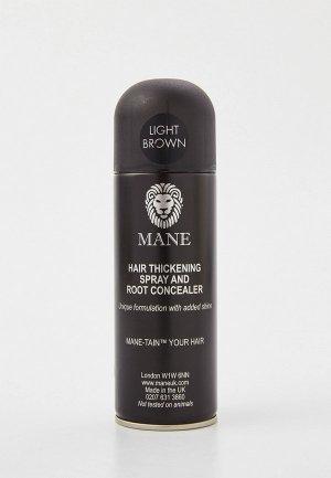 Спрей для волос Mane камуфлирующий Light brown (светло-коричневый), 200 мл. Цвет: коричневый