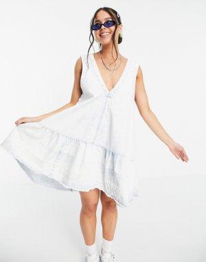 Платье мини из выбеленного денима с присборенной юбкой Sunspray-Голубой Free People