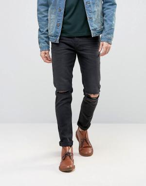 Облегающие рваные джинсы плотностью 12,5 унций ASOS DESIGN. Цвет: черный