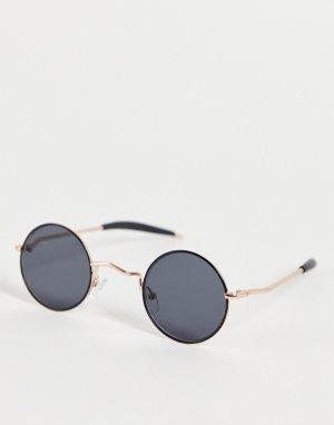 Круглые солнцезащитные очки в стиле унисекс с черными линзами золотистой оправе Chemistry-Черный цвет Spitfire
