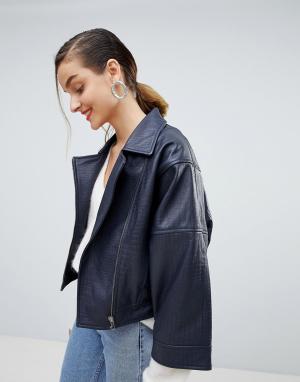 Фактурная кожаная куртка с широкими рукавами Selected. Цвет: темно-синий