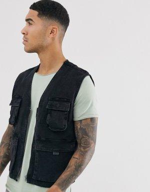 Черный джинсовый жилет в стиле милитари Brave Soul