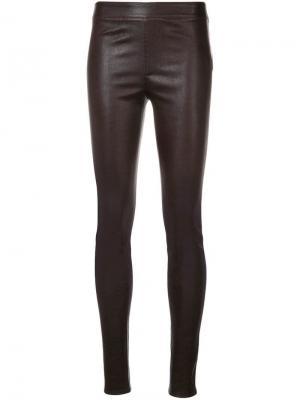 Облегающие кожаные брюки Helmut Lang