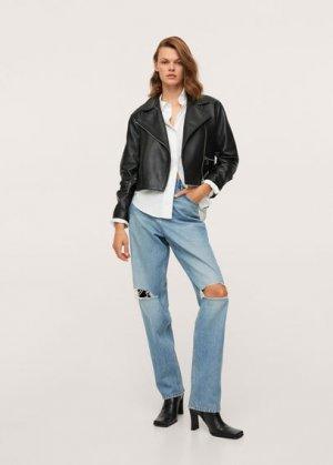Нарочно рваные джинсы straight-fit - Jolie Mango. Цвет: синий средний