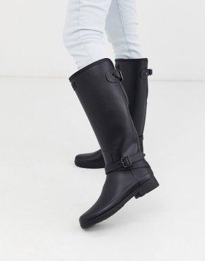 Черные резиновые сапоги с ремешками Original Refined Tall-Черный Hunter
