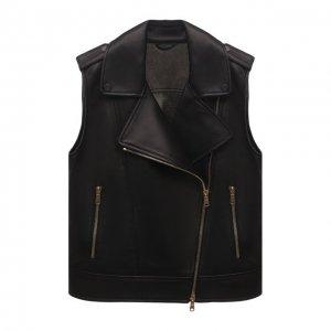 Кожаный жилет Brunello Cucinelli. Цвет: чёрный