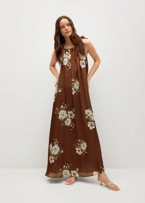 Длинное платье с цветочным принтом - Brown-a Mango. Цвет: кофейный