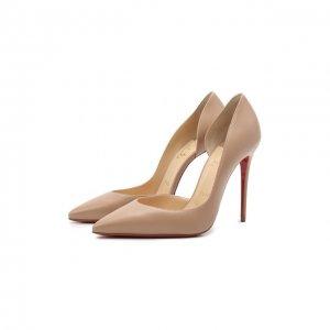 Кожаные туфли Iriza 100 Christian Louboutin. Цвет: бежевый