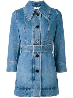 Джинсовая куртка с ремнем на талии Marni. Цвет: синий