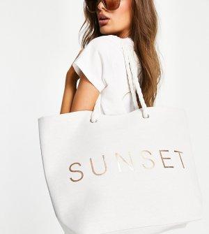 Белая парусиновая пляжная сумка с надписью Sunset -Белый South Beach
