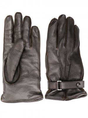 Перчатки с кнопками Ermenegildo Zegna. Цвет: коричневый
