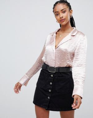 Атласная укороченная блузка Emory Park. Цвет: розовый