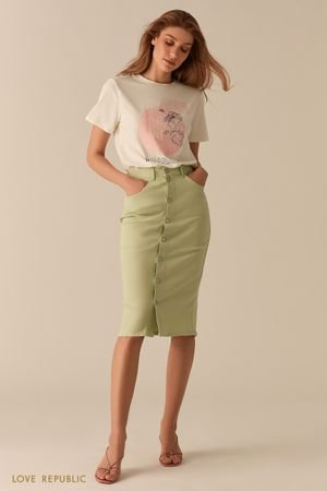 Джинсовая светло-зеленая юбка миди с рядом пуговиц LOVE REPUBLIC