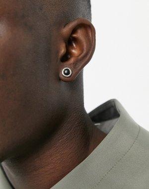 Серебристые серьги-гвоздики с черным камнем -Серебристый Icon Brand