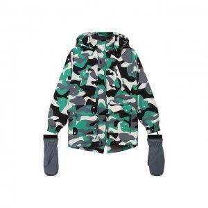 Куртка с варежками Mumofsix. Цвет: зелёный