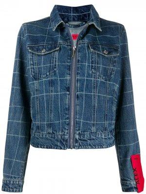 Джинсовая куртка на молнии HUGO. Цвет: синий
