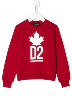 Свитер с логотипом D2 Dsquared2 Kids. Цвет: красный