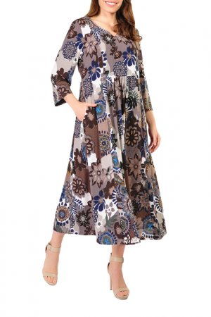 Платье Forus. Цвет: коричневый, белый
