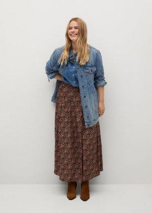 Миди-юбка с цветами - Mossy8 Mango. Цвет: черный