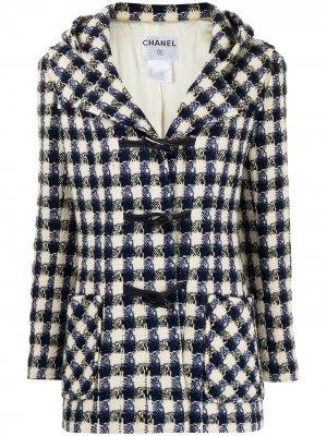 Твидовый дафлкот 2006-го года Chanel Pre-Owned. Цвет: белый