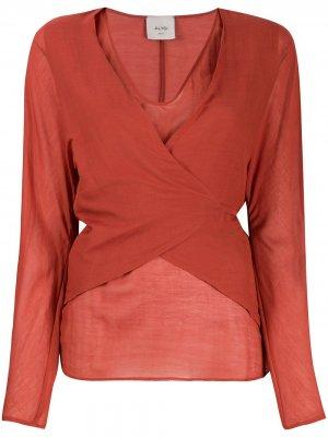 Блузка с запахом и завязками сзади Alysi. Цвет: красный