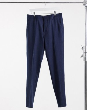 Темно-синие брюки скинни с добавлением шерсти и узором в елочку Wedding-Темно-синий ASOS DESIGN