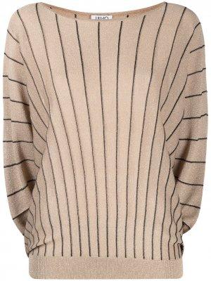 Полосатая блузка с вышивкой LIU JO. Цвет: нейтральные цвета