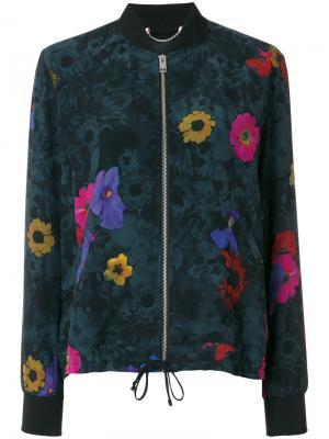 Куртка-бомбер с цветочным принтом Diesel. Цвет: черный