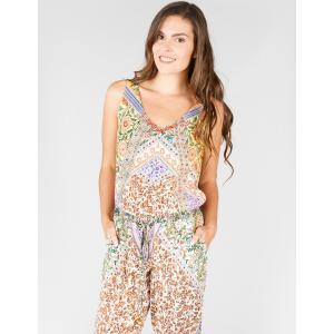 Комбинезон с брюками цветочным рисунком в стиле пэчворк DERHY. Цвет: бирюзовый/рисунок