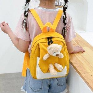 Для девочек Рюкзак двухцветный с куклой SHEIN. Цвет: жёлтые