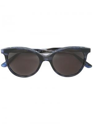 Солнцезащитные очки в круглой оправе Bottega Veneta. Цвет: синий