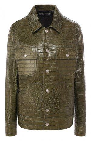 Кожаная куртка Tom Ford. Цвет: зеленый