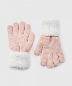 Трикотажные перчатки для девочек O`Stin. Цвет: светло-розовый