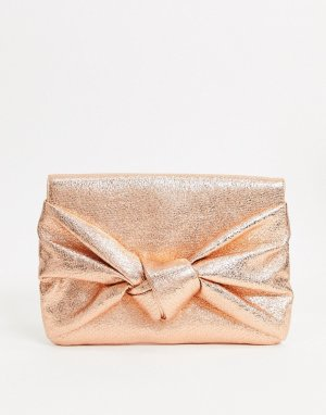 Золотистый клатч с большим бантом -Розовый ASOS DESIGN