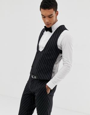 Супероблегающий жилет в тонкую полоску -Серый Twisted Tailor