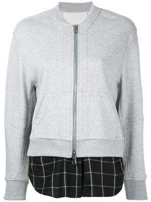 Куртка-бомбер с контрастной вставкой 3.1 Phillip Lim. Цвет: серый