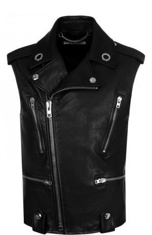 Кожаный жилет с косой молнией Givenchy. Цвет: черный