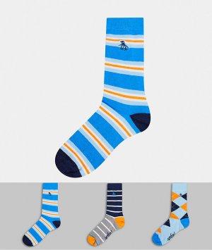 3 пары мужских носков в полоску и ромбик Penguin-Мульти Original Penguin