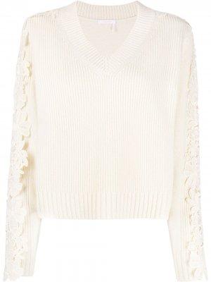 Пуловер с кружевной аппликацией See By Chloé. Цвет: белый