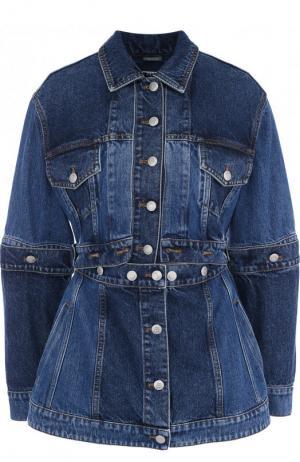 Джинсовая куртка с потертостями Alexander McQueen. Цвет: синий